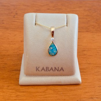 Kabana Australian Opal and Diamond Pear Drop Pendant