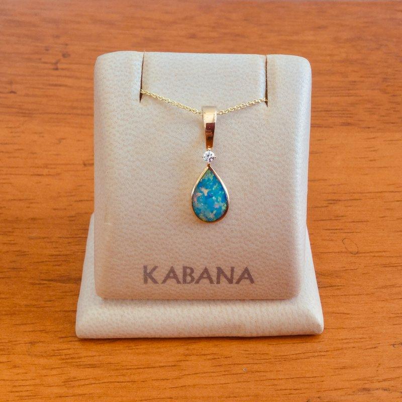 Kabana Jewelry Kabana Australian Opal and Diamond Pear Drop Pendant