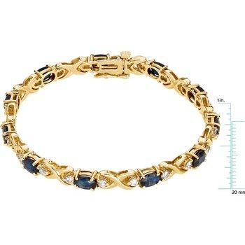 Genuine Sapphire & Diamond Bracelet - EL591134