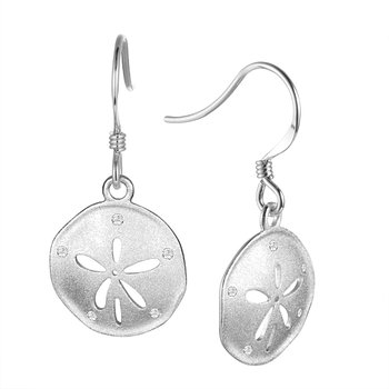 Sterling Silver Sand Dollar Earrings with a Satin Finish