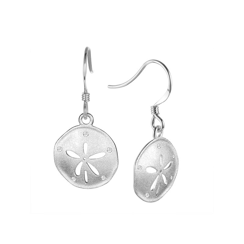 Sealife Jewelry Sterling Silver Sand Dollar Earrings with a Satin Finish