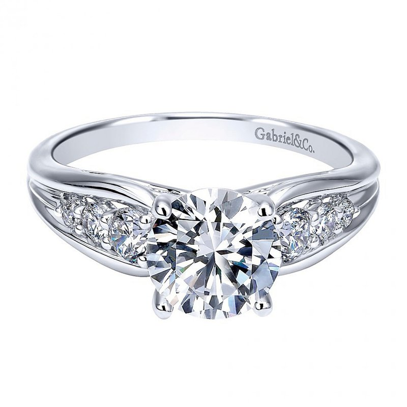 Gabriel NY 14k White Gold Diamond Engagement Ring from the Gabriel NY Collection