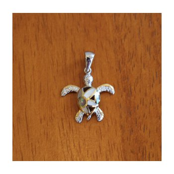 Sterling Silver and 18k Gold Plated Petite Flower Turtle Pendant with White Mother of Pearl Inlay