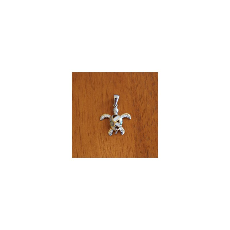 Kovel Sealife Sterling Silver and 18k Gold Plated Petite Flower Turtle Pendant with White Mother of Pearl Inlay