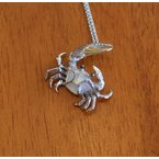 Kovel Sealife Sterling Silver and Gold Plate Fiddler Crab Pendant  with inlaid White Mother of Pearl.