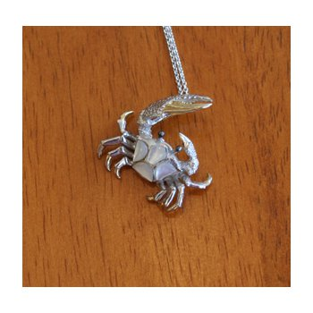 Sterling Silver and Gold Plate Fiddler Crab Pendant  with inlaid White Mother of Pearl.