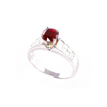 Genuine Ruby and Diamond Ring in 18k White Gold