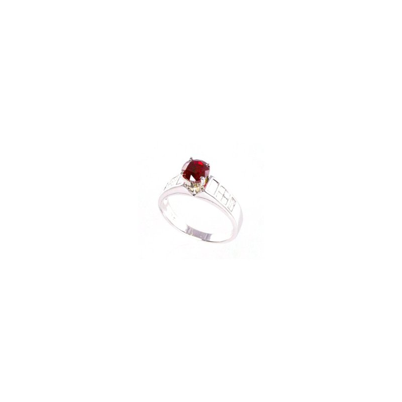 Signature Collection Genuine Ruby and Diamond Ring in 18k White Gold