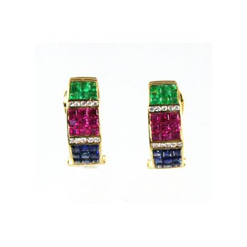 Genuine Emerald, Blue Sapphire, Ruby & Diamond Earrings
