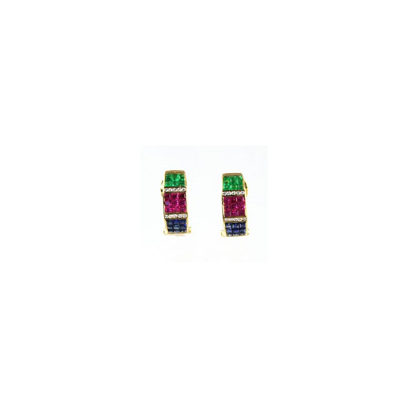 Signature Collection Genuine Emerald, Blue Sapphire, Ruby & Diamond Earrings