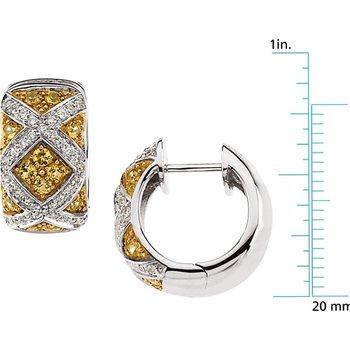 Genuine Yellow Sapphire & Diamond Earrings