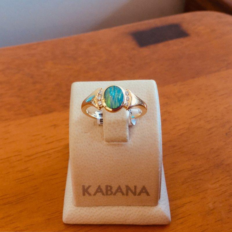 Kabana Jewelry Kabana Australian Opal Inlay and Diamond Ring
