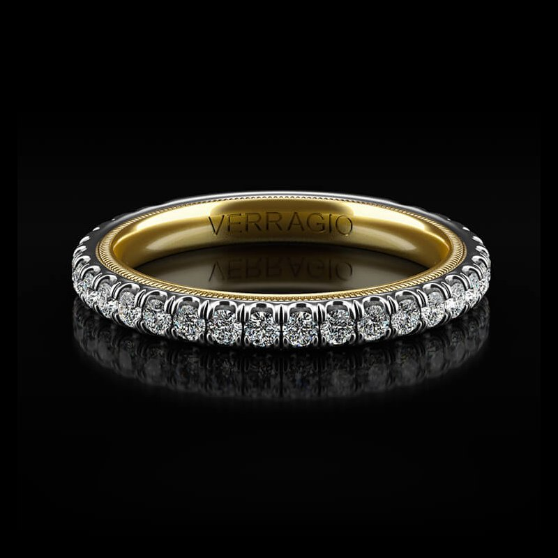 Verragio Tradition Collection Wedding Band - Style #TR180-2WY in 14k White and Yellow Gold