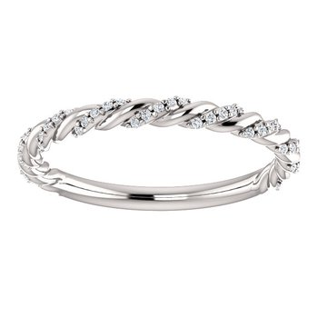 14k White Gold Twist Rope Diamond Band - #42478