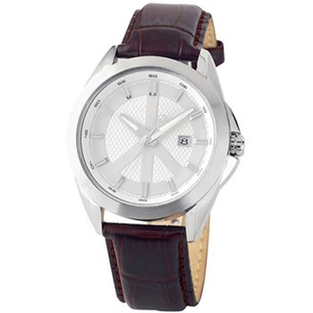 Gents Peace Movement Watch with Brown Leather Strap