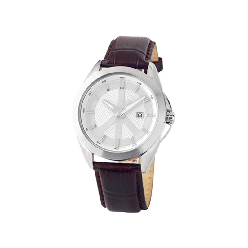Swiss Watches Gents Peace Movement Watch with Brown Leather Strap
