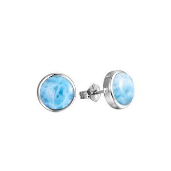 Sterling Silver 12mm Round Larimar Stud Earrings