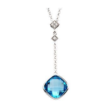 Genuine Checkerboard Swiss Blue Topaz & Diamond Necklace