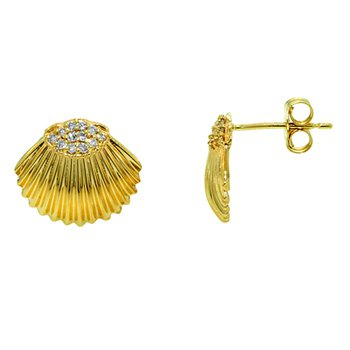 14k Yellow Gold Diamond Shell Earrings