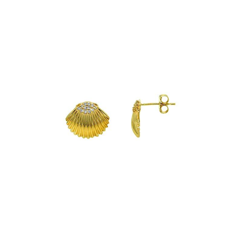 Sealife Jewelry 14k Yellow Gold Diamond Shell Earrings