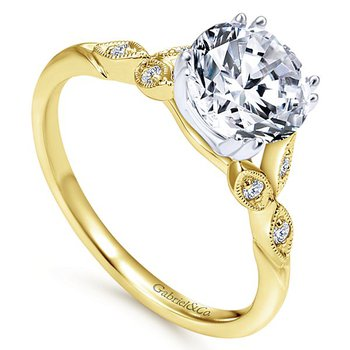 Celia 14k Yellow Gold Vintage Style Engagement Ring by Gabriel NY - Style #ER11721R4M44JJ