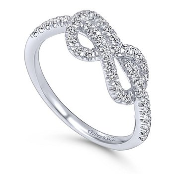 Gabriel NY 14k White Gold Love Knot Diamond Ring Style #LR50151W45JJ
