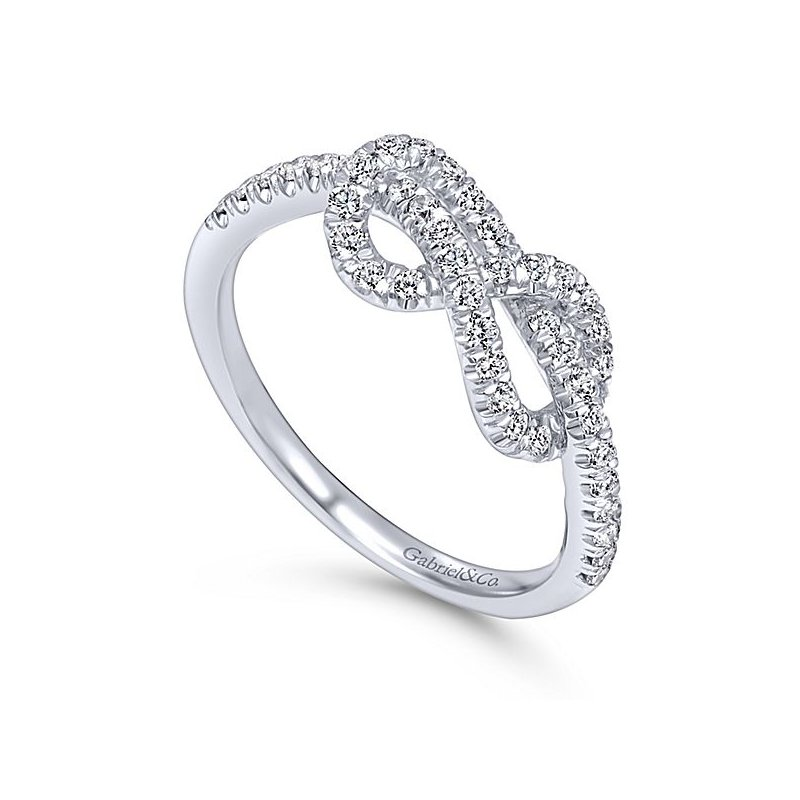 Gabriel NY Gabriel NY 14k White Gold Love Knot Diamond Ring Style #LR50151W45JJ