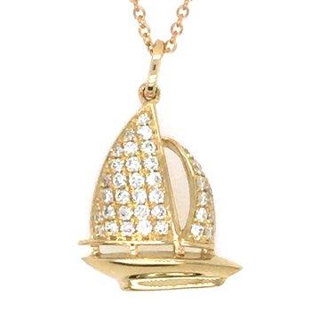 14k Yellow Gold Diamond Sailboat Pendant