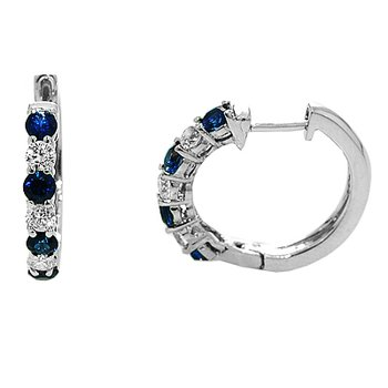 Emerald Lady Jewelry Signature Collection Sapphire and Diamond Hoop Earrings - #37185