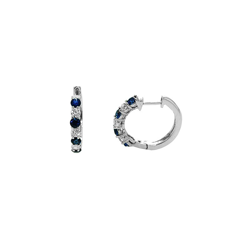 Signature Collection Emerald Lady Jewelry Signature Collection Sapphire and Diamond Hoop Earrings - #37185