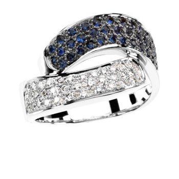 Genuine Blue Sapphire & Diamond Ring - EL1786134