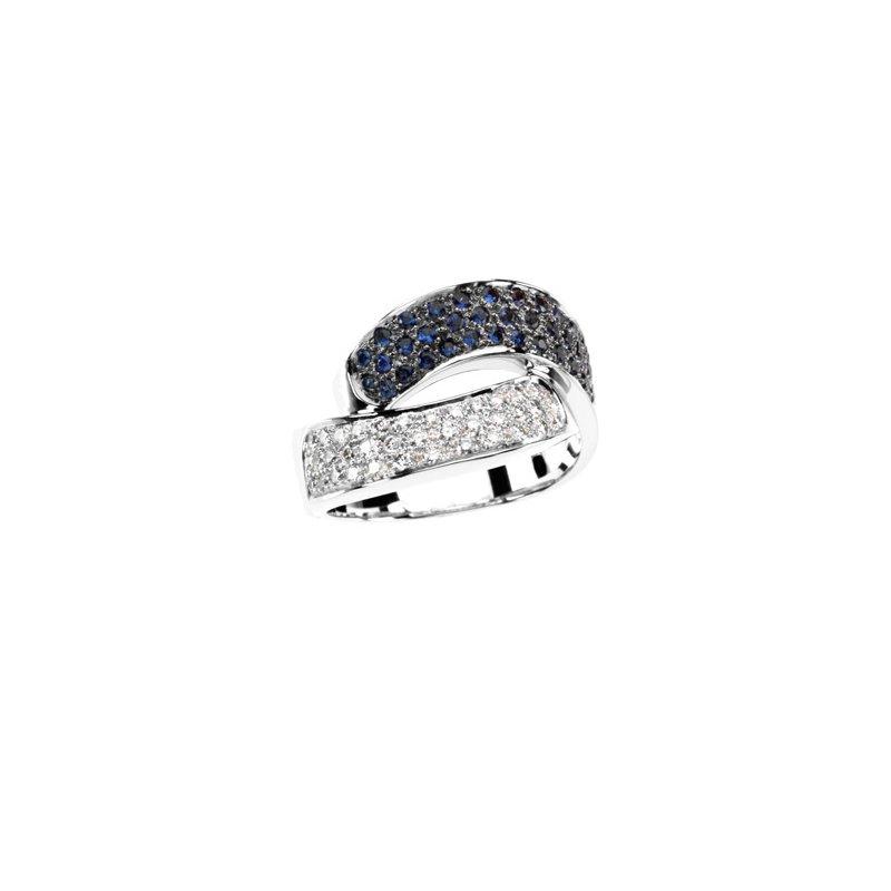 Signature Collection Genuine Blue Sapphire & Diamond Ring - EL1786134