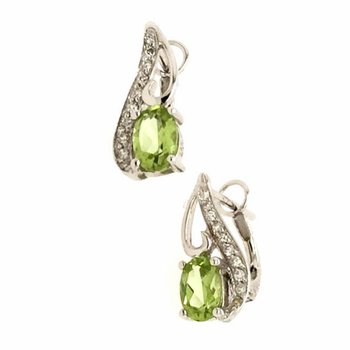 Genuine Peridot & Diamond Earrings in 18k White Gold