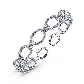 """14k White Gold 6 1/4"""" Diamond Pave' Chain Link Cuff Bracelet by Gabriel NY"""