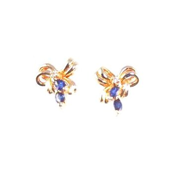 Genuine Blue Sapphire & Diamond Earrings - 4540
