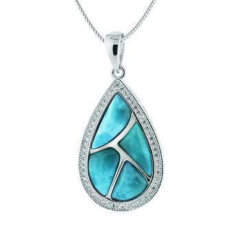 Sterling Silver Pear Shaped Pendant with Larimar.