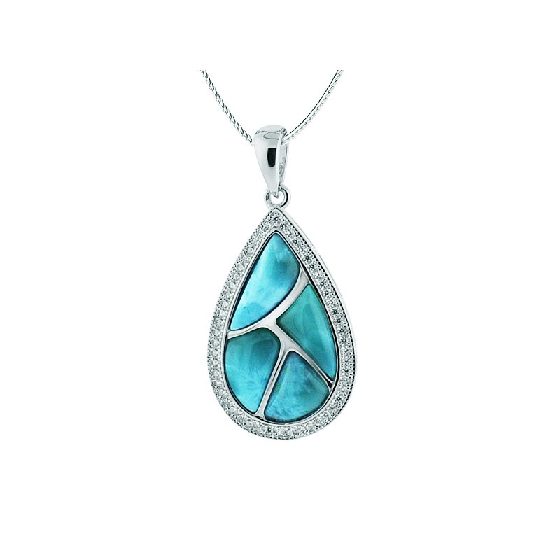 Alamea Larimar  Sterling Silver Pear Shaped Pendant with Larimar.