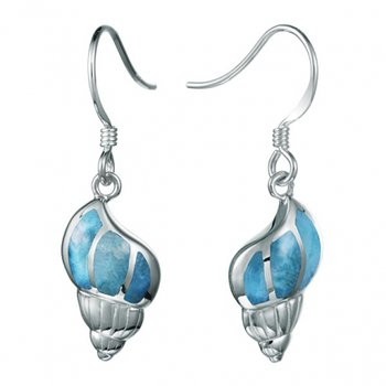 Alamea Sterling Silver Conch Shell Dangle Earrings with Larimar