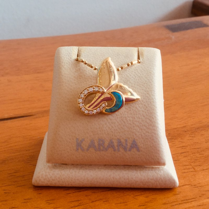 Kabana Jewelry Kabana Australian Opal Inlay & Diamond Whale's Tail Pendant