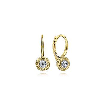 14k Yellow Gold Round Twisted Rope Frame Diamond Leverback Earrings by Gabriel NY