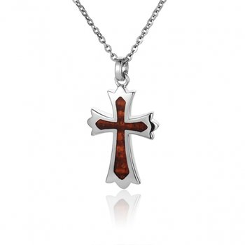 Sterling Silver Cross with Koa Wood Inlay