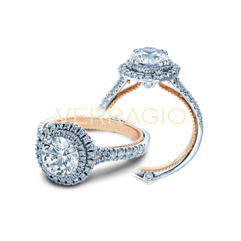 Verragio Couture 0425 R - TT - 14k White and Rose Gold Round Double Halo Diamond Engagement Ring