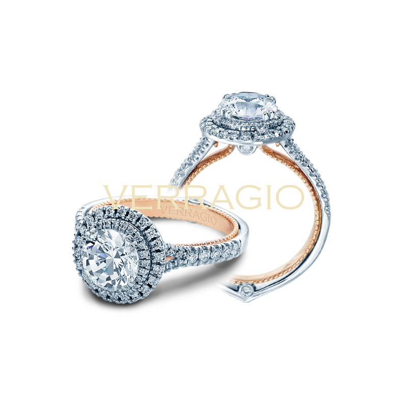 Verragio Verragio Couture 0425 R - TT - 14k White and Rose Gold Round Double Halo Diamond Engagement Ring
