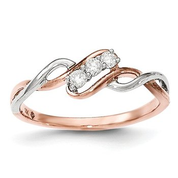 From the Promise Ring Collection 14k White and Rose Gold 3-Stone Past, Present, Future Diamond Ring