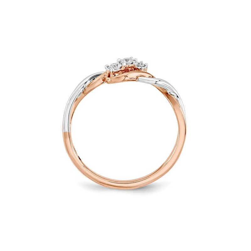 Signature Collection From the Promise Ring Collection 14k White and Rose Gold 3-Stone Past, Present, Future Diamond Ring