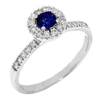 14k White Gold Round Halo Sapphire and Diamond Ring