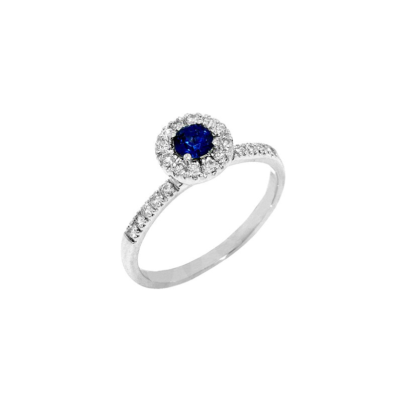 Signature Collection 14k White Gold Round Halo Sapphire and Diamond Ring