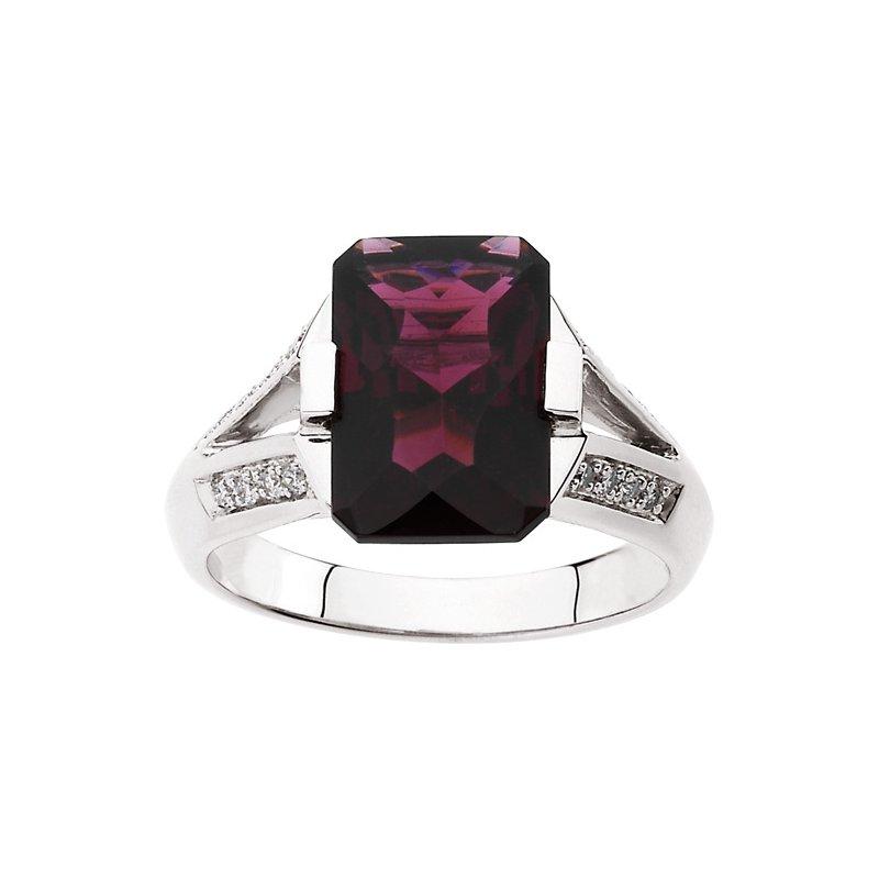 Signature Collection Genuine Brazilian Garnet & Diamond Ring