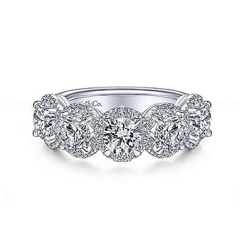 14k White Gold Captivating  Anniversary Band by Gabriel NY