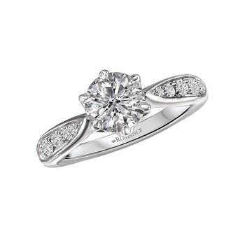 14k White Gold Tapered Band Engagement Ring Mounting